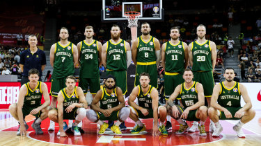 High hopes: The Australian squad, with coach Andrej Lemanis, pose before the opening game of the 2019 FIBA World Cup.