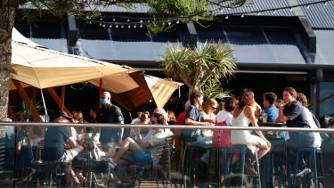 The popular Beach Hotel in central Byron was heaving on Good Friday afternoon.