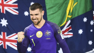 Winning feeling: Socceroos goalkeeper Mat Ryan celebrates after the victory over Uzbekistan.