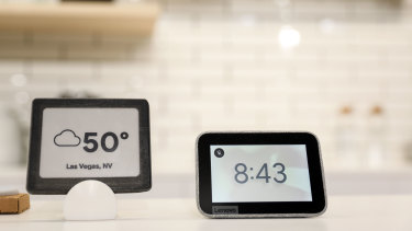 The Lenovo smart clock, featuring Google Assistant, on display at CES last week.