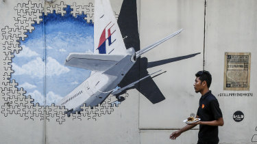 A mural for the missing MH370 in Kuala Lumpur.