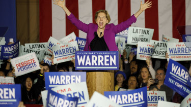 Senator Elizabeth Warren speaks during a campaign event in Los Angeles in March 2020.