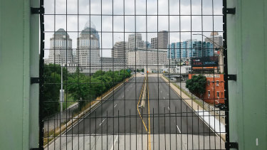 An empty highway is seen from an overpass bridge in Cincinnati, Ohio, where 70 per cent of revenue comes from taxes on wages.