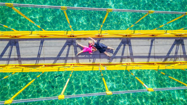 Evie and Emmie's travels took them to many fascinating places, including the famous Yellow Bridge in Nusa Lembongan.