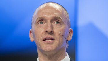 Carter Page, a former foreign policy adviser of US President-elect Donald Trump, speaks at a news conference in Moscow in 2016.