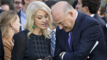 Kellyanne Conway speaks with Gary Cohn, director of the US National Economic Council.