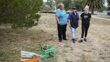 Kylie Fitzgerald, Clair Cursio and Becky Blenner who work at the shopping centre laid flowers at the scene.