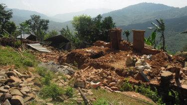 Ruin of an earthquake hit school.