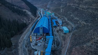 A coal mine in Hutubi County in  China's Xinjiang Uyghur Autonomous Region. Electricity from this area is a major provider of energy for bitcoin mining.