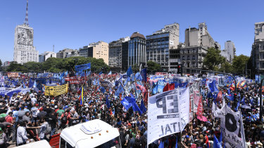 Demonstrators marched to protest against high unemployment and the policies of Argentinian President Mauricio Macri.
