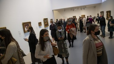 Guests at the opening of French Impressionism from the Museum of Fine Arts, Boston, at the NGV on Friday.