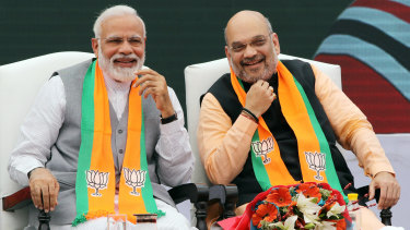 Indian Prime Minister Narendra Modi, left, and Amit Shah, president of the Bharatiya Janata Party, at the weekend.