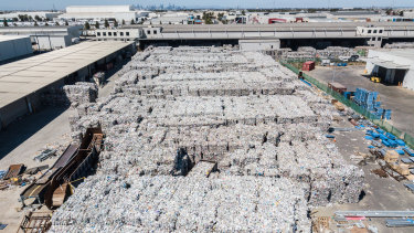 SKM Service's vast stockpile of recycling material in Laverton North last month.