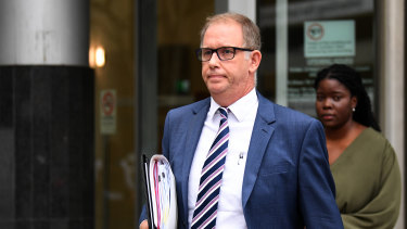 Lawyer Glen Cranny, representing Moreton Bay Regional Council mayor Allan Sutherland, leaves the Magistrates Court on Wednesday.