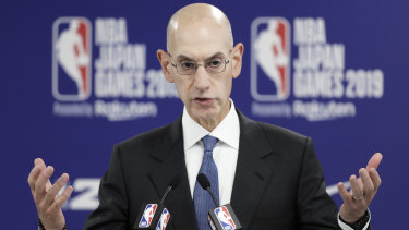 Adam Silver, NBA commissioner, gestures as he speaks during a news conference prior in Saitama.