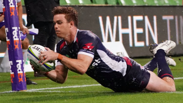 Andrew Kellaway crosses for the Rebels after a defensive passage that summed up the Tahs' woes.