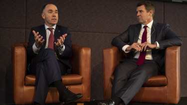NAB CEO Andrew Thorburn and NAB CCO Mike Baird at ABCC lunch in Melbourne.