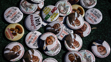 Merchandising is displayed for sale during a rally with Andres Manuel Lopez Obrador, Mexican presidential candidate.