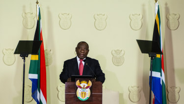 South African President Cyril Ramaphosa announcing his new cabinet.