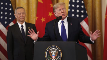 """US President Donald Trump and Chinese Vice Premier Liu He signed a """"phase one"""" trade deal at the White House on Wednesday local time."""