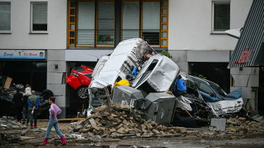 Streets and homes damaged by the flooding of the Ahr River in Bad Neuenahr - Ahrweiler, Germany.