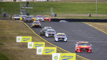 Leader of the pack: Scott McLaughlin out front during race 3.