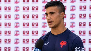 Joseph Suaalii at the Roosters' media day this week.