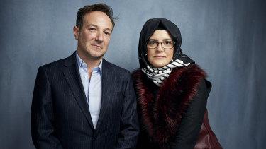 Director Bryan Fogel, left, with Khashoggi's fiancee Hatice Cengiz at the Sundance Film Festival in Utah last year.