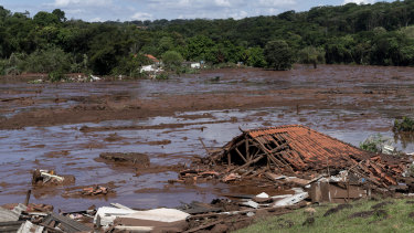 A home lays in ruins after  a tailings dam collapsed at a Vale mine near Brumadinho, Brazil.