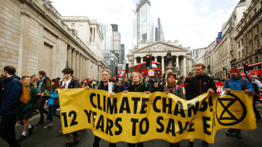 Climate activists from the Extinction Rebellion group demonstrate in London in April.