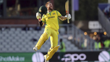 Australia's David Warner celebrates after scoring a century against South Africa.