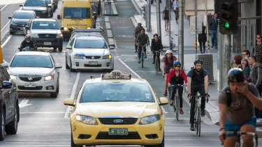 Cyclists in La Trobe Street in the CBD.