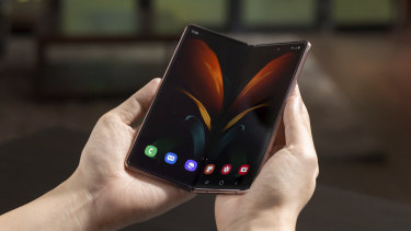 The Samsung Galaxy Z Fold 2 is aphone-sized when closed and tablet-sized when open.