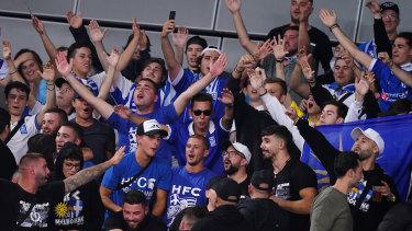 Supporters of Greek star Stefanos Tsitsipas on Monday night.