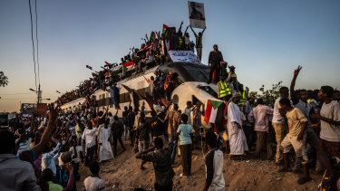 A train carrying Sudanese demonstrators from al-Atbara arrives in Khartoum in late April.