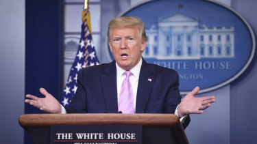 US President Donald Trump speaks during a Coronavirus Task Force news conference at the White House in Washington.