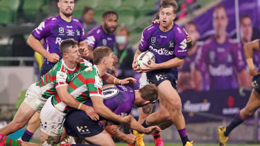 The Melbourne Storm playing the South Sydney Rabbitohs in early June.