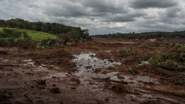 Mud and water unleashed from the collapse of a tailings dam in Brazil at a Vale iron ore mine.