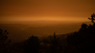Smoke hangs over Mount Diablo in Orinda, California.