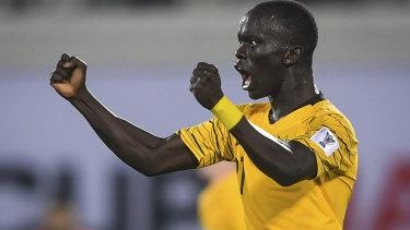 Soccreroo Awer Mabil celebrates a goal.