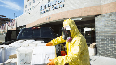 Protective equipment is donated to the Elmhurst Hospital Centre in the Queens borough of New York.