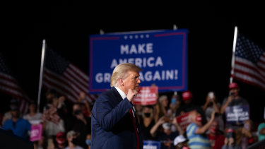 US President Donald Trump at a rally in North Carolina in September.