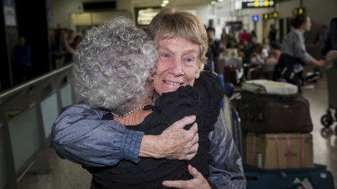 Sister Patricia Fox is welcomed home on Sunday morning.