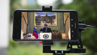 Venezuela's President, Nicolas Maduro,  during a video press conference at Miraflores Palace in Caracas.