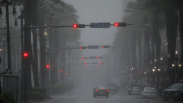 Canal Street in New Orleans as Hurricane Ida makes landfall.