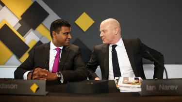 Rob Jesudason, left, with former CBA CEO Ian Narev.