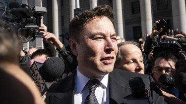Elon Musk, chief executive officer of Tesla Inc., speaking to the media while departing from federal court in New York last week.
