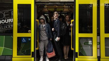 Commuters traveling on inner-city tram