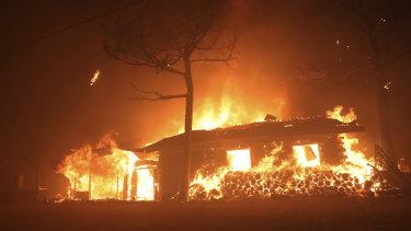 A house burns in Goseong, South Korea.