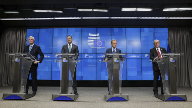 From left: Chief EU negotiator Michel Barnier, Irish Prime Minister Leo Varadkar, EU president Donald Tusk and European Commission president Jean-Claude Juncker.